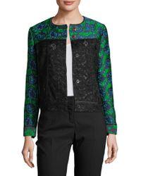 Oscar de la Renta - Colorblock Lace Jacket - Lyst