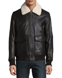 Michael Kors Sherling Touch Aviator Jacket - Brown