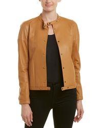 Hermès Tan Leather Moto Jacket (size Xs) - Brown