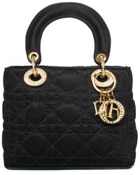 Dior Christian Black Quilted Satin Mini Lady