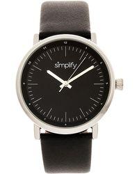 Simplify Quartz The 6200 Silver Case, Genuine Black Leather Watch 39mm