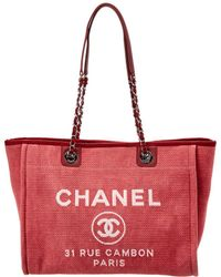 Chanel - Pink Canvas Large Deauville Tote - Lyst