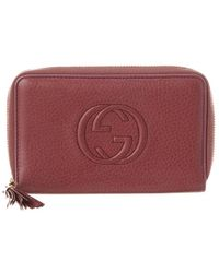 292aab0108c3 Lyst - Gucci Soho Light Sunflower Leather Zip Around Wallet in Brown