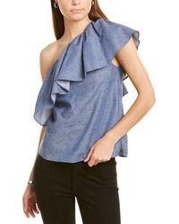 BCBGMAXAZRIA One-shoulder Linen-blend Top - Blue