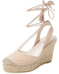 Elorie Leather Ankle-wrap Wedge - Natural