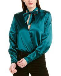 Jonathan Simkhai Satin Wrap Front Silk-blend Bodysuit - Green