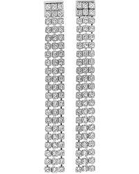 Swarovski Rhodium-tone Fit Long Pierced Linear Earrings - Multicolour