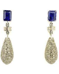 Arthur Marder Fine Jewelry - Silver 3.50 Ct. Tw. Diamond & Kynite Earrings - Lyst