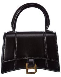 Balenciaga Hourglass Mini Leather Shoulder Bag - Black