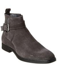 Karl Lagerfeld Side Buckle Suede Boot - Grey