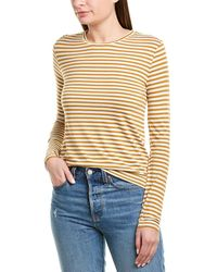Vince Midi Stripe Silk-blend T-shirt - Yellow
