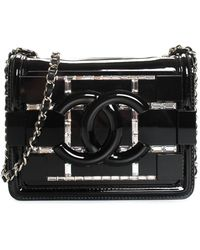 Chanel Black Plexiglass Crystal Leather Mini Flap Bag, Never Carried