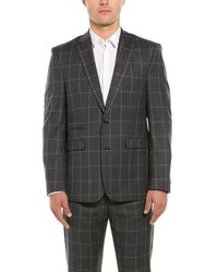 Vince Camuto 2pc Wool-blend Suit With Pleated Pant - Gray