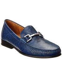 Donald J Pliner Niles Antique Calf Bit Loafer - Blue