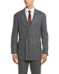Brunello Cucinelli 2pc Wool-blend Suit With Flat Pant - Grey