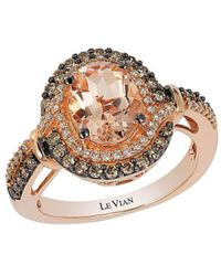 Le Vian - Chocolatier Peach Morganite, Vanilla Diamonds, Chocolate Diamonds And 14k Strawberry Gold Ring - Lyst