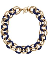 Kenneth Jay Lane 22k Plated Resin Link Toggle Necklace - Multicolour