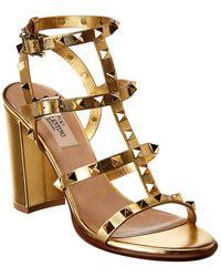 Valentino Rockstud Caged 100 Leather Ankle Strap Sandal - Metallic