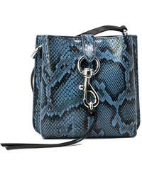 Rebecca Minkoff Megan Mini Python Leather Feed Bag - Blue