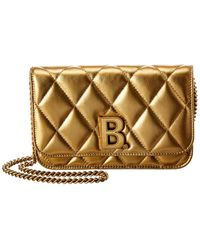 Balenciaga B Quilted Metallic Leather Wallet On Chain - Multicolour
