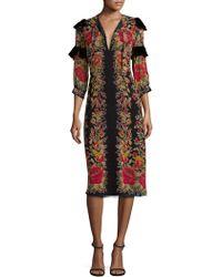 Anna Sui Roses Silk Midi Dress - Black