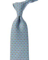Ferragamo Light Blue Valentine's Print Silk Tie