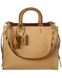 COACH Rogue Colorblocked Leather Tote - Brown