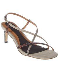Joie Malou Snake-embossed Leather Sandal - Multicolor