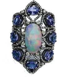 Arthur Marder Fine Jewelry Silver 9.71 Ct. Tw. Diamond & Gemstone Ring - Blue