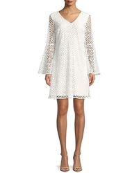 Karl Lagerfeld Paris Bell-sleeve Lace Shift Dress - White