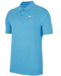 Nike Dry Essential Stripe Polo Shirt - Blue