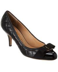 Ferragamo Carla 70 Quilted Leather Pump - Black