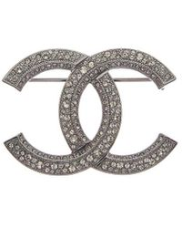 Chanel Silver-tone & Crystal Cc Pin - Metallic
