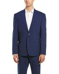 Vince Camuto 2pc Wool-blend Suit With Flat Pant - Blue