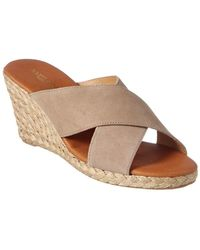 Andre Assous Amber Suede Wedge Sandal - Brown