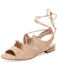 Aperlai Sarah Suede Lace-up Sandal - Natural