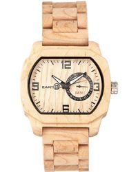 Earth Wood - Scaly Wood Bracelet Watch W/date Khaki 46mm - Lyst