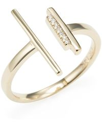 CR By Casa Reale - 14k Yellow Gold & 0.02 Total Ct. Diamond Triple Bar Ring - Lyst