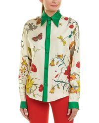 Gucci Floral Print Silk Shirt - White