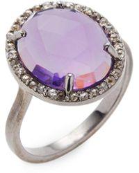 Bavna Silver Ring With Champagne Rose Cut Diamonds & Amethyst Stone - Metallic