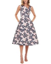 Kay Unger Peyton Printed Stripe Burnout Midi Dress - Blue