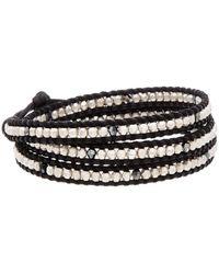 Chan Luu Silver & Leather Crystal Triple Wrap Bracelet - Metallic