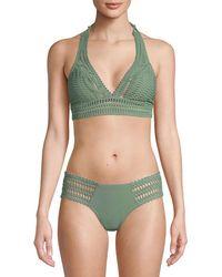 Robin Piccone Sophia Halter Bikini Top - Green