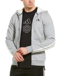 adidas Winter Fleece 3 Stripe Full Zip Hoodie - Grey