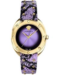 Versace 38mm Shadov Leather Watch Gold/purple - Multicolor