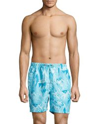 Tommy Bahama Oasis Tropical Print Swim Trunks - Blue