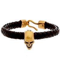 Alexander McQueen Skull Leather Bracelet - Black