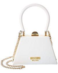 Moschino Flame Mini Leather Shoulder Bag - White