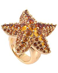 Pomellato 18k Rose Gold Quartz Starfish Ring - Metallic