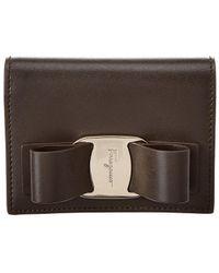Ferragamo Vara Bow Leather Wallet - Brown